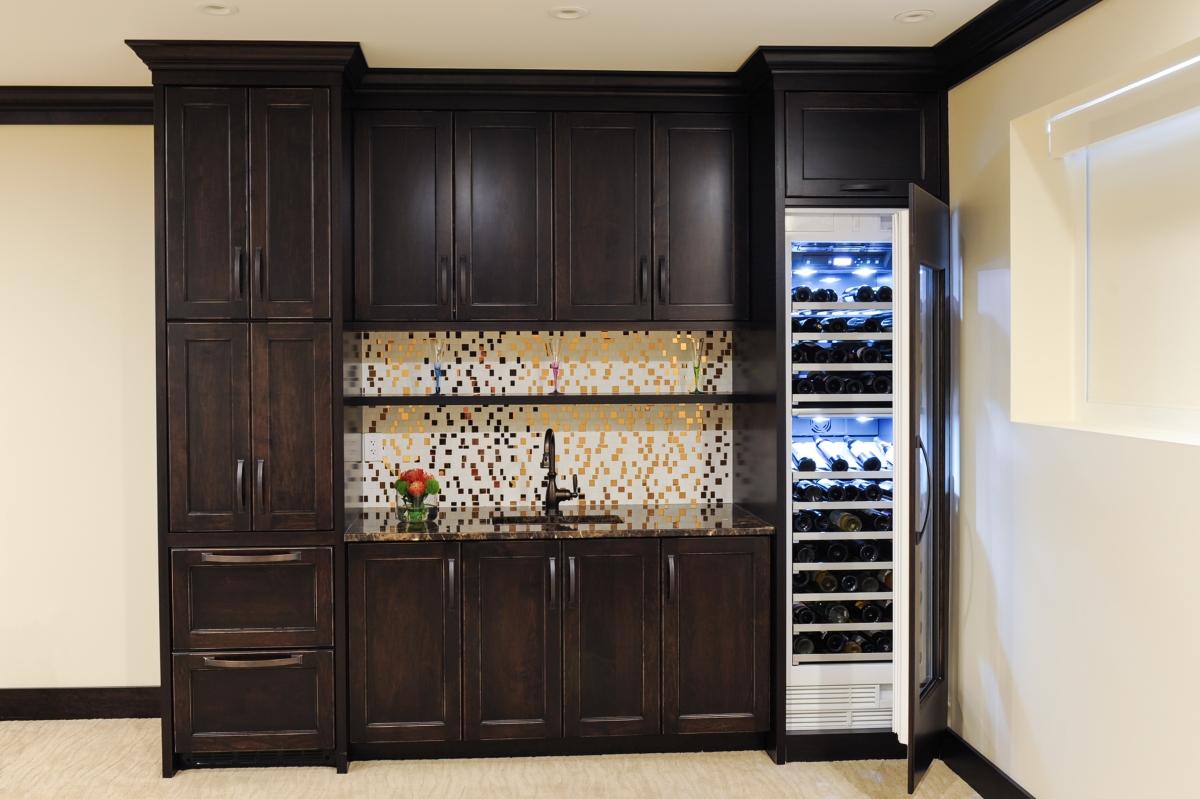Bar, Sub-Zero wine fridge, copper sink, copper and marble backsplash, custom cabinetry