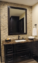 Bathroom, marble mosaic tile, undermount sink, marble countertop Delta Faucets
