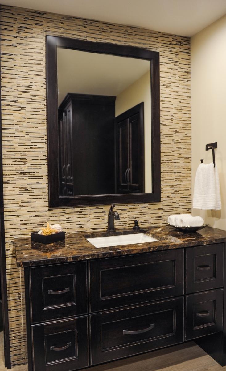 Bathroom, marble mosaic tile, undermount sink, marble countertop Delta Faucets