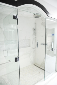 Master Bathroom, walk in shower, rain shower, body sprays, built in niche