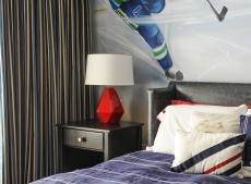 Boys bedroom, Custom window treatments, mural, bedside lamps