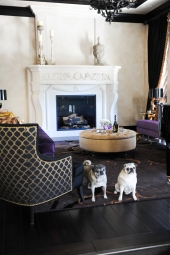 Formal living Room, Christian Guy Couches, Custom Silva Chair and Ottoman, Custom Area Rug, Piano, Italian plaster walls, custom fireplace surround plus pugs