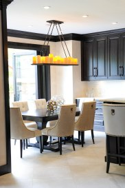 Custom chairs, custom stools, custom cabinetry, Restoration Hardware light