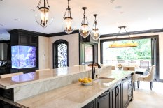 Kitchen, Aquarium, Custom doors, pendant lighting, TajMahalQuartzite countertops