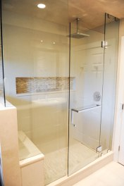 Shower, rain shower head, built in niche, Marble mosaic tile