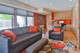 Orange, bold colours, library, area rug