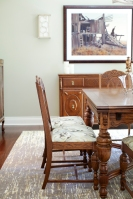 Dining room, custom rug, antique furniture