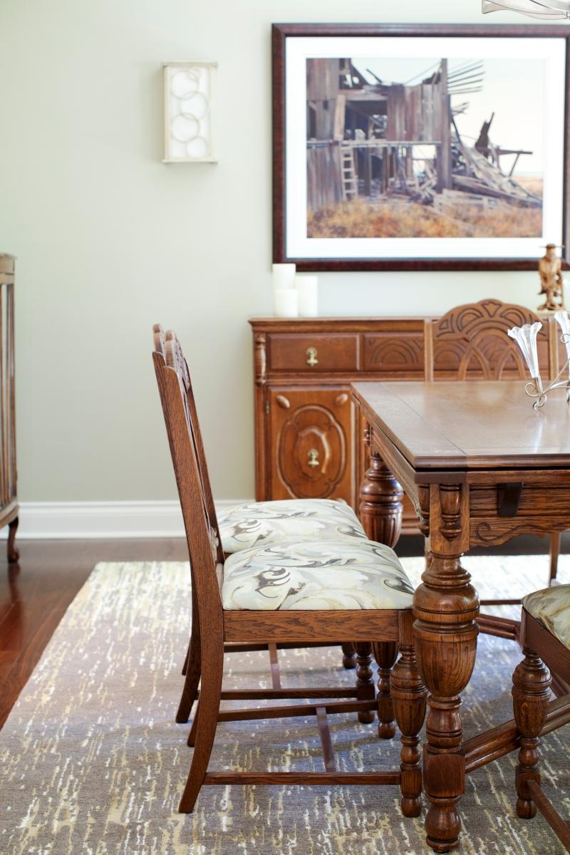 Dining room, custom rug, antique furniture