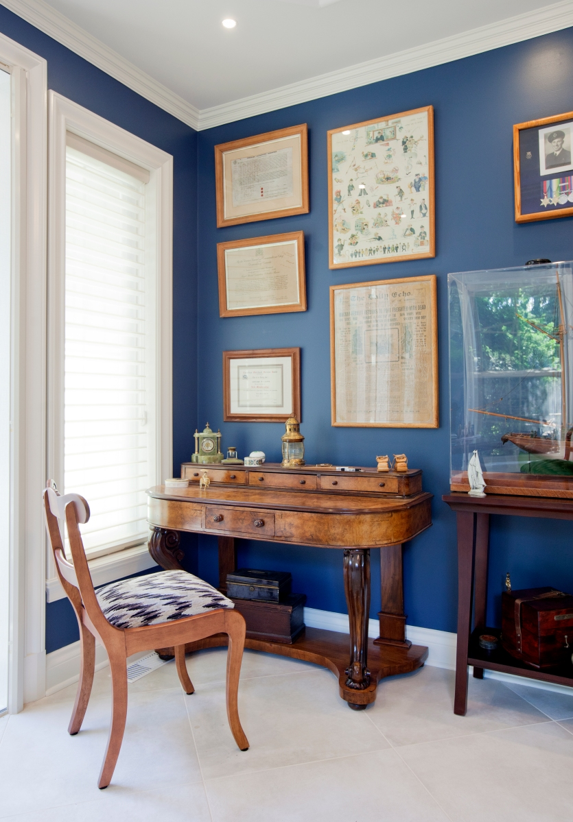 Office, gallery wall, antiques