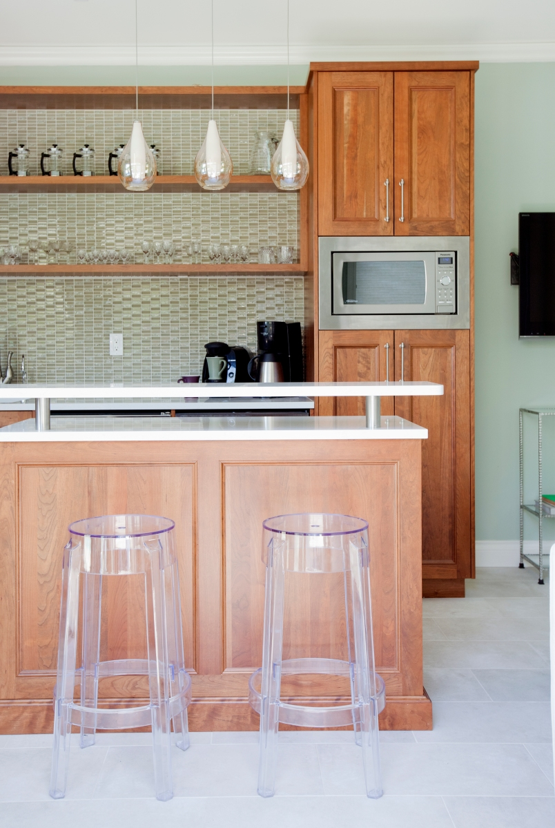 Pool House, cherry cabinets, glass pendant lights, acrylic bar stools