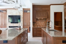 Kitchen, cherry cabinetry, Cambria countertops, double islands