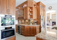 Kitchen, cherry cabinetry, butlers pantry, wine fridge